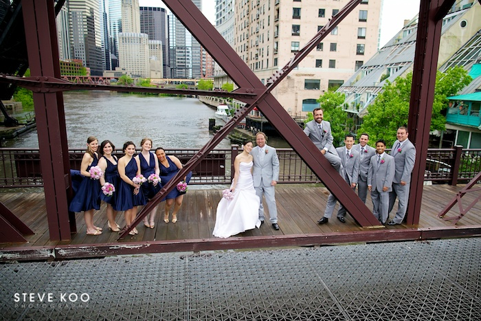 Wedding Party Kinzie Street Bridge