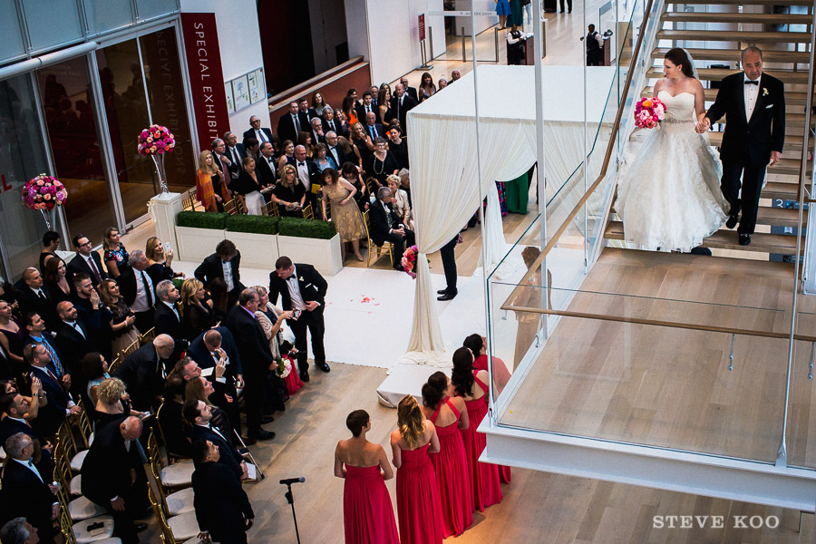 Wedding Reception Modern Wing Of The Art Insute Bride Aisle Stairs