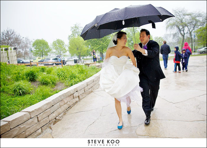 Rain on your wedding day blue white umbrella wedding bride under umbrella rain wedding photo junglespirit Image collections