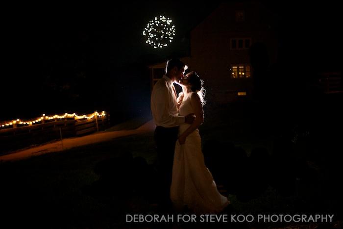 bride and groom night fireworks