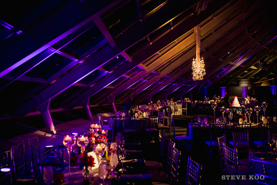 Adler Planetarium with purple and pink up lighting wedding