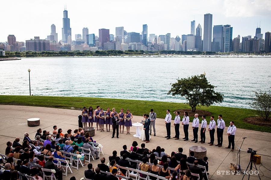 Outdoor ceremony at the Adler Planetarium Chicago